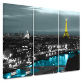 Sparkling Paris 3 Piece Gallery Wrapped Canvas Set