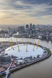 Aerial View from Helicopter  Canary Wharf and O2 Arena  London  England