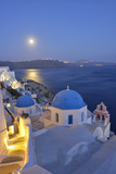 Moon over the Town of Oia  Santorini  Kyclades  South Aegean  Greece  Europe
