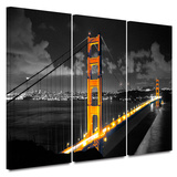 Golden Gate Bridge San Francisco 3 Piece Gallery Wrapped Canvas Set