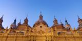 Spain  Aragon Region  Zaragoza  Basilica Del Pilar  Panorama at Dusk