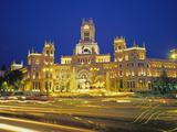 Plaza De Cibeles Illuminated at Night  Madrid  Spain  Europe