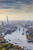 Aerial View from Helicopter  the Shard  River Thames and the City of London  London  England