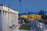 Albania  Tirana  Skanderbeg Square and Opera Building  Dusk
