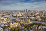 Aerial View from Helicopter  Houses of Parliament  River Thames  London  England