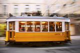 Europe  Portugal  Lisbon  a Speeding Tram (Streetcar) in the City Center