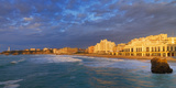France  Biarritz  Pyrenees-Atlantique  Panorama of Grand Plage at Sunset