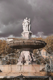 Fountain in Aix-En-Provence and Cloudy Sky  France