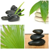 Composition Zen Green Bamboo and Black Stones