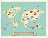 Global Compassion Map poster Reproduction d'art par Rebecca Peragine