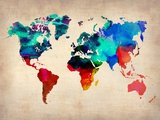 World Map in Watercolor Reproduction d'art par NaxArt