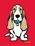 Basset Hound on Red