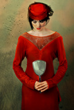 Woman in Red Dress with a Mirror
