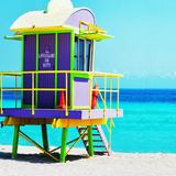Purple and Green Lifeguard Shack