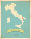 Italy My Roots Map, blue version (includes stickers) Reproduction d'art par Rebecca Peragine