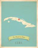 My Roots Cuba Map - blue