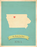 Iowa My Roots Map  blue version (includes stickers)