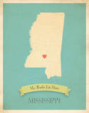 Mississippi My Roots Map  blue version (includes stickers)