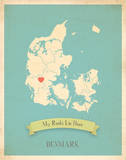 Denmark My Roots Map, blue version (includes stickers) Reproduction d'art par Rebecca Peragine