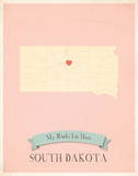 South Dakota My Roots Map  pink version (includes stickers)