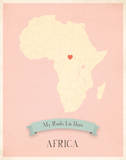 Africa My Roots Map  pink version (includes stickers)