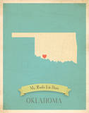 Oklahoma My Roots Map  blue version (includes stickers)