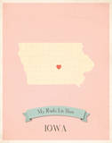 Iowa My Roots Map  pink version (includes stickers)