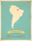 My Roots South America Map - blue