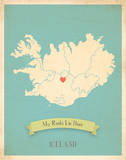 Iceland My Roots Map  blue version (includes stickers)