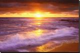 Coucher de soleil sur la plage de San Diego, Californie Tableau sur toile