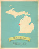 Michigan My Roots Map  blue version (includes stickers)