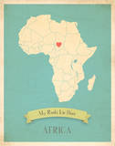 Africa My Roots Map  blue version (includes stickers)