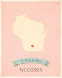 Wisconsin My Roots Map  pink version (includes stickers)