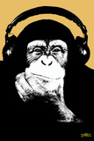Headphone Chimp - Gold