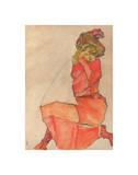 Kneeling Female in Orange-Red Dress  1910