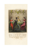Four Fashionable Regency Ladies Playing Cards in a Candlelit Room