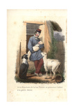 A Shepherd and Baby with Dog and Young Goat