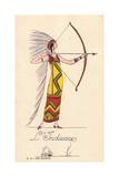 Woman in Fancy Dress Costume as Native American  L'Indienne
