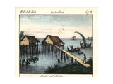 Stilt Houses on Rawak Island and Outrigger Canoes