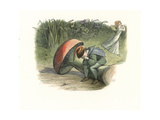 Elf Sits Brokenhearted on a Toadstool as a Fairy Runs Away