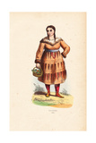 Kamtchadal Woman in Coat Decorated with Hair  Holding a Basket