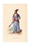 Persian Man in Fur Hat and Jacket  Carrying a Cudgel and Dagger