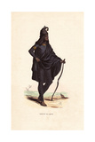 Man of Lahore (Punjab) in Black Suit  Turban and Cape  Carrying a Bow