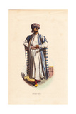 Arabian Merchant with Tattoos in Turban  Striped Cape and Slippers