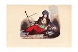 Persian Noble Woman in Jeweled Turban Smoking a Hookah Pipe