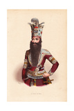 Shah of Persia with Long Beard and Elaborately Bejeweled Crown