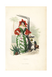 Cactus Flower Fairy in Bonnet and Sleeves of Flowers