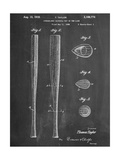 Baseball Bat Patent 1938 Reproduction d'art