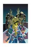 Avengers 17 Cover: Builders  Hulk  Thor  Captain America  Falcon  Spider Woman  Iron Man  Manifold