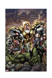 Age of Ultron 1 Cover: Ultron  Captain America  Hulk  Iron Man  Thing  Iron Fist  Spider-Man